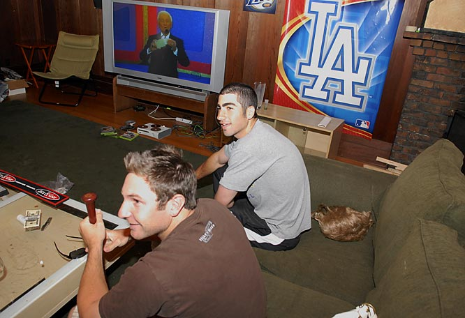 Satin and his roommates spent almost every night in front of the 62-inch TV they purchased together. Satin, a graduate of Harvard-Westlake High, reps his L.A. roots on the living room wall.