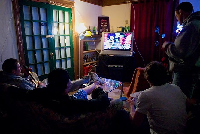 The house's living room, where the housemates gather for Guitar Hero showdowns and screenings of <i>Entourage</i> and <i>24</i>.