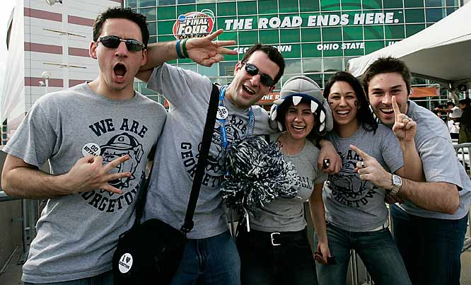 Georgetown fans get energized before the Hoyas' Final Four matchup against Ohio State on Saturday.
