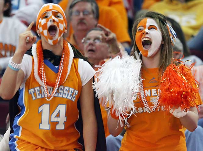 Tennessee fans show their support for the Lady Vols in their Final Four matchup with UNC.  Tennessee won 56-50.