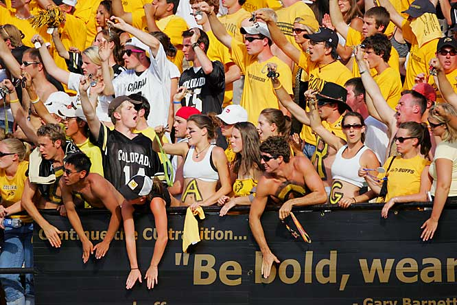 Fans rev up the crowd before a matchup with Arizona State.