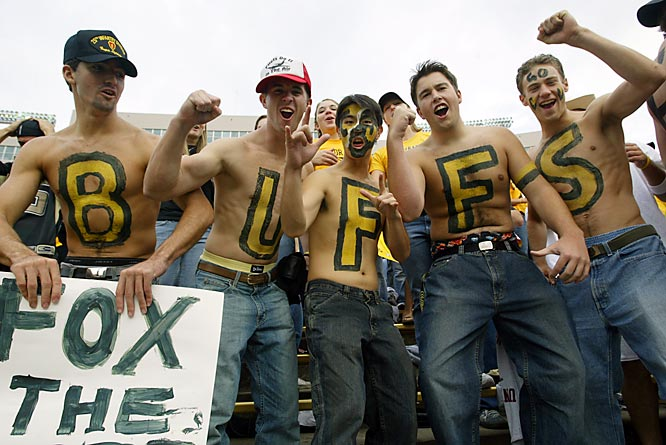 Folsom Field seats nearly 54,000 for football. Here are five of the more boisterous fans.