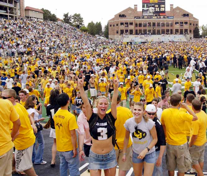 Colorado students celebrate at Folsom Field after the Buffaloes defeated Colorado State in September 2005.