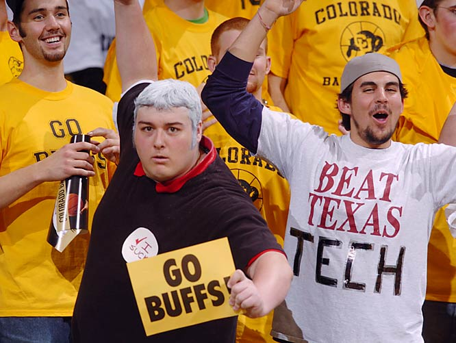 This CU fan shows off his Bobby Knight impersonation during the Buffaloes matchup against Texas Tech in February, 2004.