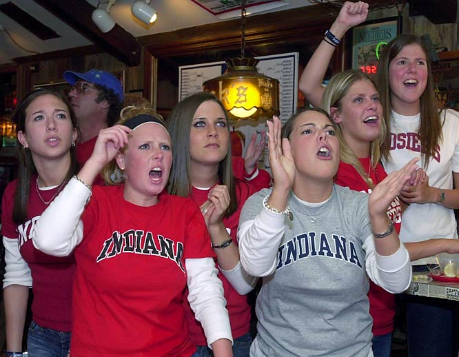 Students cheer on the Hoosiers from Nick's English Hut, a hotspot for students, during the 2002 Final Four.