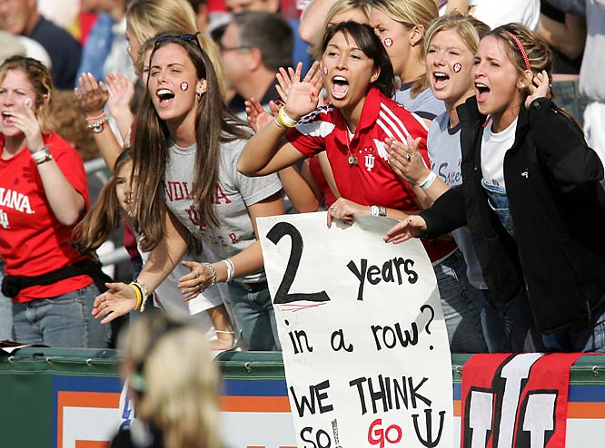 Indiana fans react during the championship game of the 2004 Men's Soccer College Cup, which the Hoosiers would win on penalty kicks.