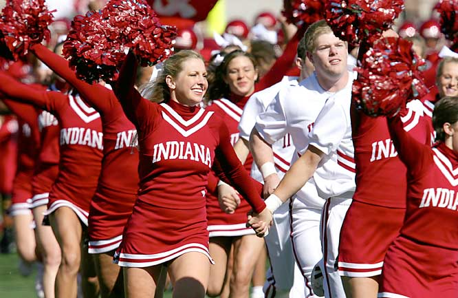 Indiana's No. 1 Superfans -- the cheerleaders -- run into Memorial Stadium before a game against Iowa last October.