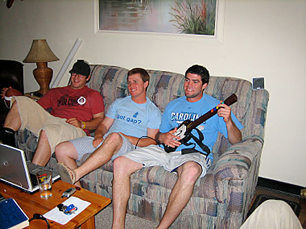 After a long day of classes and baseball, what better way to unwind than with a little guitar?  Horton is not looking to make a switch from starting shortstop to Jimmy Page-wannabe (or at least he hasn't officially announced his decision), but he's always looking to challenge his roommates to a round of Playstation Guitar Hero.