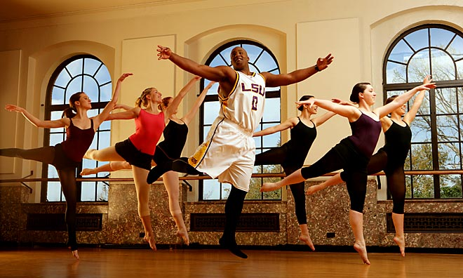 Tielemans's take:<br><br>''LSU center Glen Davis supposedly had taken a dance class in his past, so my editors wanted him photographed dancing. In the days leading up to this shoot, I contacted the Baton Rouge ballet to find a location, and by chance I ended up on the phone with LSU's dance team instructor. She offered me her studio and her dance team. Turns out Davis had taken only one dance class -- and only to meet a girl -- but he was a natural.''<br><br>Shot with a Canon EOS-1DS Mark II    EF 24-70mm f 2.8L