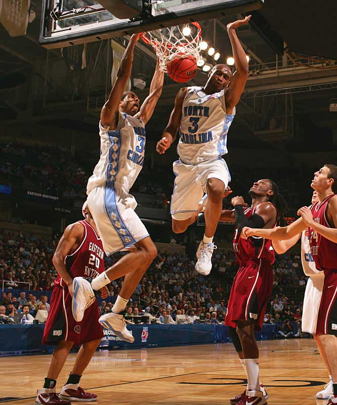 Brandan Wright (left) helped the Tar Heels race to a 27-point first-half lead over Eastern Kentucky.