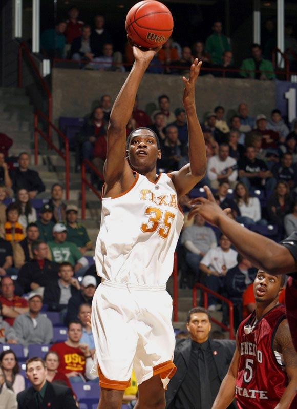 Freshman phenom Kevin Durant had 27 points and eight rebounds as Texas overcame a late charge by the Aggies.