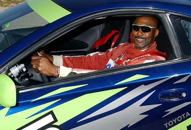 The ex-Utah Jazz great is shown during driver training for the 2005 race.