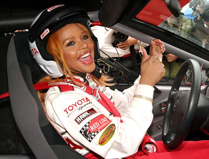 The rap star at the 2004 race in California.