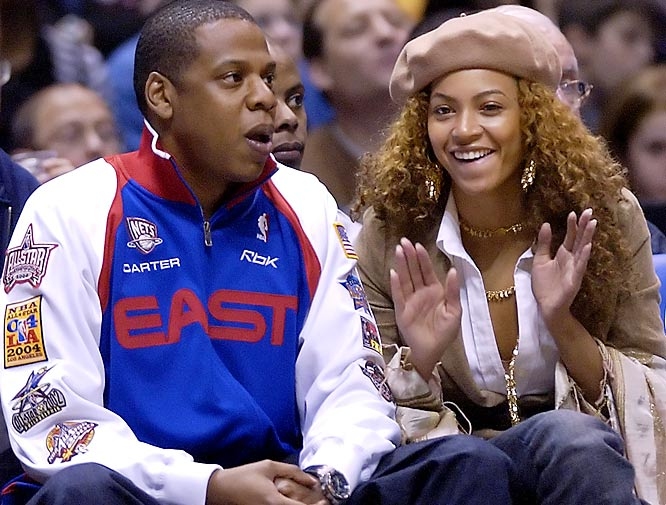 Beyonce shows palpable excitement for her boyfriend Jay-Z's New Jersey Nets.