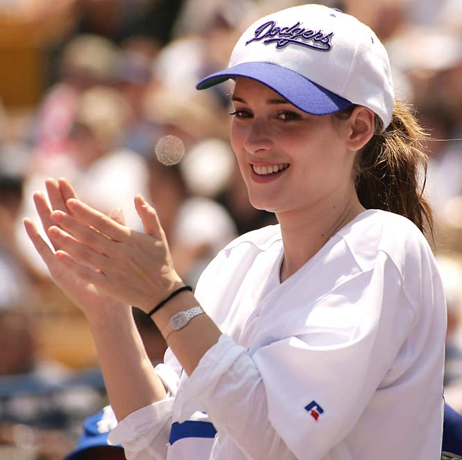 Winona Ryder cheers for the Dodgers in Los Angeles.