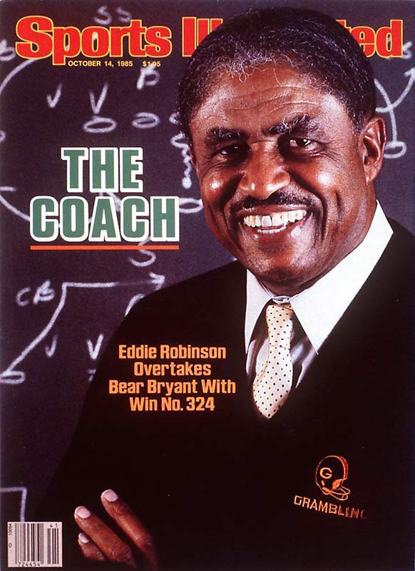 "When Grambling beat Prairie View A&M 27-7 on Oct. 5, 1985, Robinson earned career win No. 324, passing Paul ""Bear"" Bryant as the winningest coach in college football history."