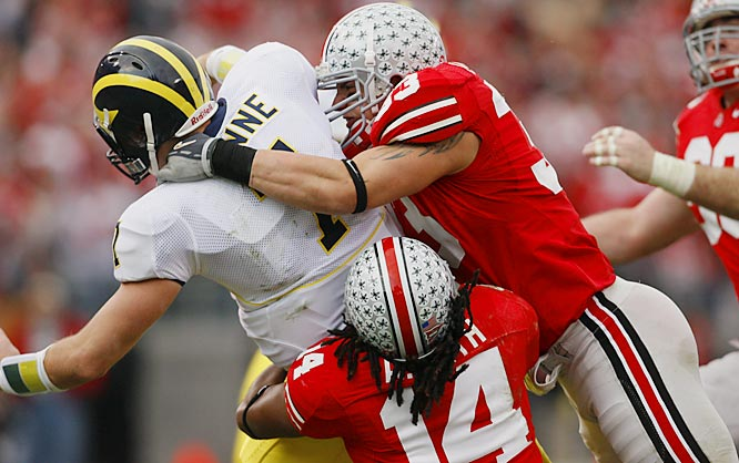 "Laurinaitis, whose father was a popular wrestler known as ""The Animal,"" won the Bronko Nagurski award, given to the nation's most outstanding defensive player."
