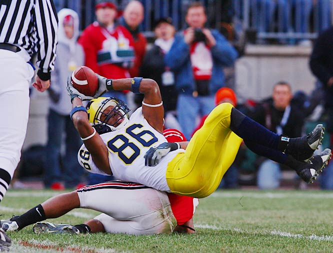 """Last season, Manningham established himself as one of the nation's most prolific deep threats. """"Super Mario"""" caught nine touchdowns in Michigan's first six games before injuring his knee against Michigan State."""
