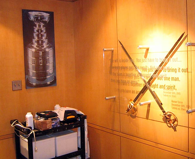 Last season Sabres captain Chris Drury asked team officials to place a photo of the Stanley Cup inside the dressing room. The players see it every time they exit for the ice.