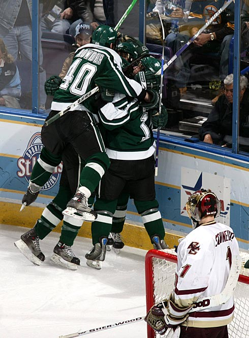 Michigan State players celebrate after scoring a goal against Boston College.