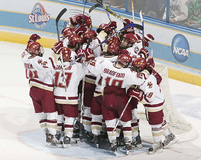 Nathan Gerbe scored the go-ahead goal with 4:06 left in the third period, leading Boston College to a 6-4 victory over North Dakota in the Frozen Four semifinals Thursday.