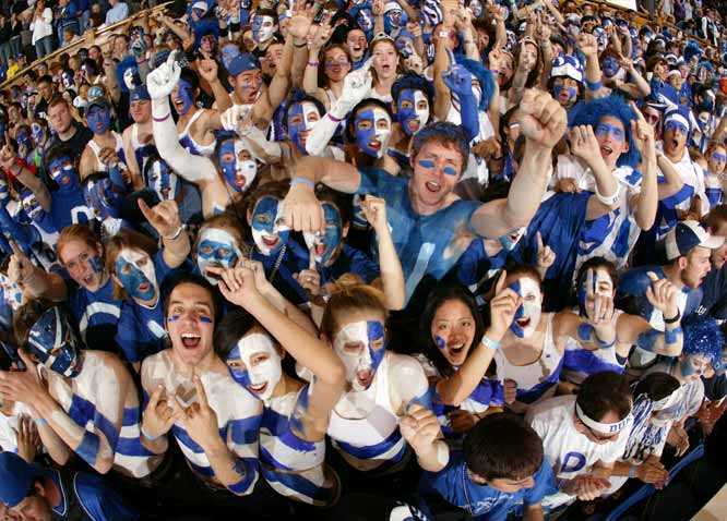 "The ""Cameron Crazies"" have packed Cameron Indoor Stadium for every game since Nov. 16, 1990. The streak reached 260 this past season. For big games, students camp out for tickets in a tent city known as ""Krzyzewskiville"" in honor of head coach Mike Krzyzewski."
