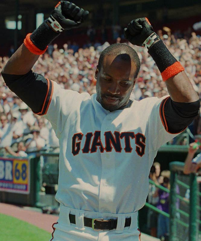 Barry Bonds<br>Date, Site: April 27, 1996, Candlestick Park<br>Pitcher: John Burkett<br>Inning: 3rd, Men on Base: 1, Outs: 0<br>Game Result: Giants 6, Marlins 3<br><br><br> Hank Aaron<br>Date, Site: April 19, 1963, Polo Grounds<br>Pitcher: Roger Craig<br>Inning: 8th, Men on Base: 1, Outs: 1<br>Game Result: Mets 5, Braves 4