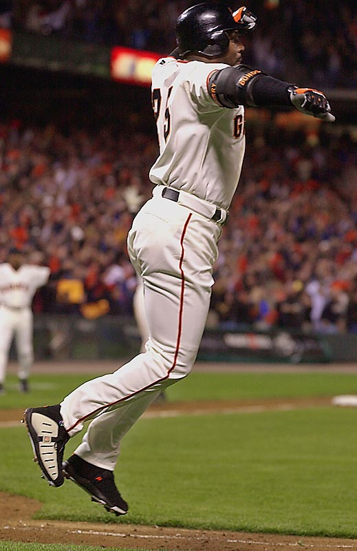 Barry Bonds<br>Date, Site: April 17, 2001, Pac Bell Park<br>Pitcher: Terry Adams<br>Inning: 8th, Men on Base: 1, Outs: 0<br>Game Result: Giants 3, Dodgers 2<br><br><br> Hank Aaron<br>Date, Site: July 14, 1968, Atlanta Stadium<br>Pitcher: Mike McCormick<br>Inning: 3rd, Men on Base: 2, Outs: 2<br>Game Result: Braves 4, Giants 2