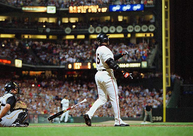 Barry Bonds<br>Date, Site: April 12, 2004, SBC Park<br>Pitcher: Matt Kinney<br>Inning: 5th,  Men on Base: 2, Outs: 2<br>Game Result: Giants 7, Brewers 5<br><br> Hank Aaron<br>Date, Site: April 27, 1971, Atlanta Stadium<br>Pitcher: Gaylord Perry, San Francisco Giants <br>Inning: 3rd, Men on Base: 1, Outs: 1<br>Game Result: Giants 6, Braves 5