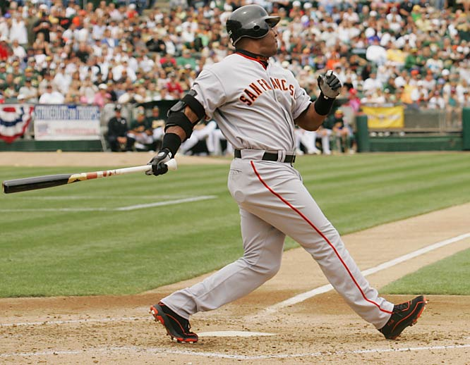 Barry Bonds<br>Date, Site: May 20, 2006, Network Associates Coliseum<br>Pitcher: Brad Halsey<br>Inning: 2, Men on Base: 0, Outs: 0<br>Game Result: Giants 4, A's 2<br><br><br> Hank Aaron<br>Date, Site: April 4, 1974, Riverfront Stadium<br>Pitcher: Jack Billingham<br>Inning: 1st, Men on Base: 2, Outs: 1<br>Game Result: Reds 7, Braves 6