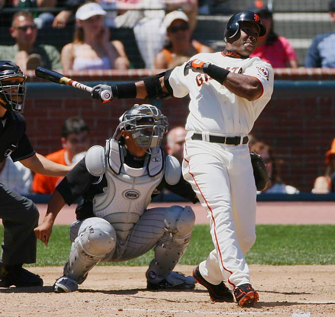 Barry Bonds<br>Date, Site: May 28, 2006, AT&T Park<br>Pitcher: Byung-Hyun Kim<br>Inning: 4, Men on Base: 1, Outs: 0<br>Game Result: Rockies 6, , Giants 3<br><br><br> Hank AaronDate, Site: April 8, 1974, Atlanta StadiumPitcher: Al DowningInning: 4th, Men on Base: 1, Outs: 0Game Result: Braves 7, Dodgers 4
