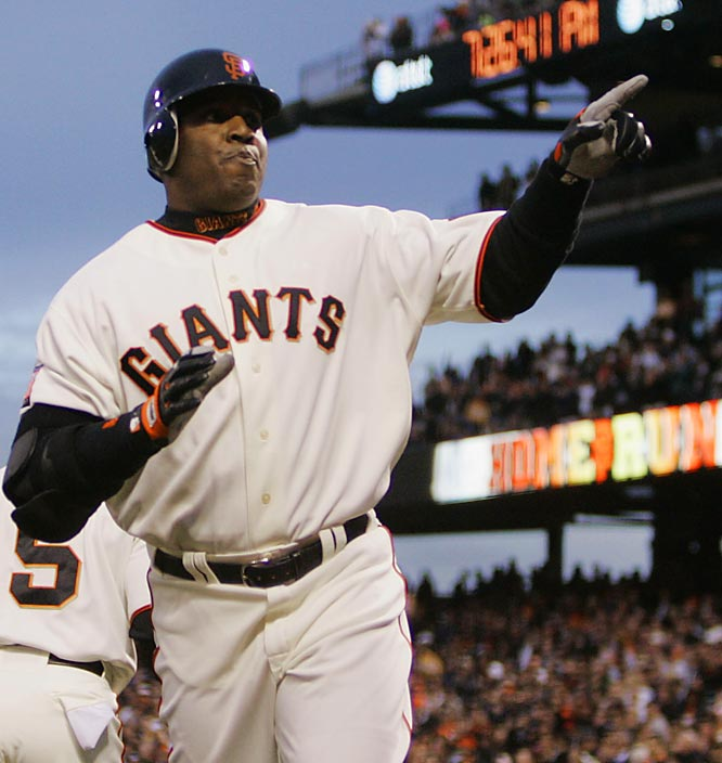 Barry Bonds<br>Date, Site: April 4, 2007, AT&T Park<br>Pitcher: Chris Young<br>Inning: 1, Men on Base: 0, Outs: 2<br>Game Result: Padres 5, Giants 3<br><br><br> Hank Aaron<br>Date, Site: April 26, 1975, Shea Stadium<br>Pitcher: Pat Dobson<br>Inning: 7th, Men on Base: 0, Outs: 0<br>Game Result: Yankees 10, Brewers 1