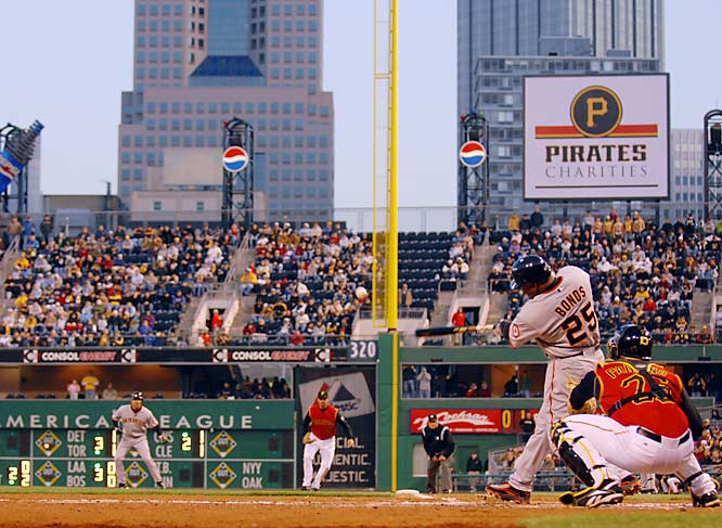 Barry Bonds<br>Date, Site: April 13, 2007, PNC Park<br>Pitcher: Zach Duke<br>Inning: 4, Men on Base: 1, Outs: 1<br>Game Result: Giants 8, Pirates 5<br><br><br> Hank Aaron<br>Date, Site: May 9, 1975, Royals Stadium<br>Pitcher: Al Fitzmorris<br>Inning: 7th, Men on Base: 0, Outs: 1<br>Game Result: Brewers 7, Royals 1
