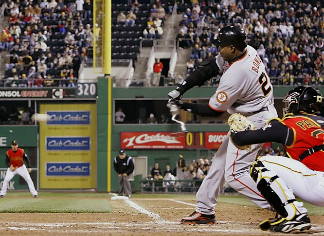 Barry Bonds<br>Date, Site: April 13, 2007, PNC Park<br>Pitcher: Zach Duke<br>Inning: 2, Men on Base: 0, Outs: 2<br>Game Result: Giants 8, Pirates 5<br><br><br> Hank Aaron<br>Date, Site: May 15, 1975, Arlington Stadium<br>Pitcher: Ray Corbin<br>Inning: 5th, Men on Base: 2, Outs: 2<br>Game Result: Brewers 8, Rangers 5