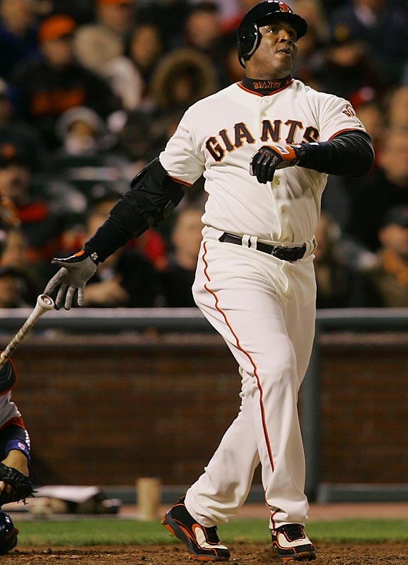 Barry Bonds<br>Date, Site: April 18, 2007, AT&T Park<br>Pitcher: Ryan Franklin<br>Inning: 8, Men on Base: 0, Outs: 1<br>Game Result: Giants 6, Cardinals 5<br><br><br> Hank Aaron<br>Date, Site: May 17, 1975, Metropolitan Stadium<br>Pitcher: Ray Corbin<br>Inning: 5th, Men on Base: 1, Outs: 0<br>Game Result: Twins 8, Brewers 7