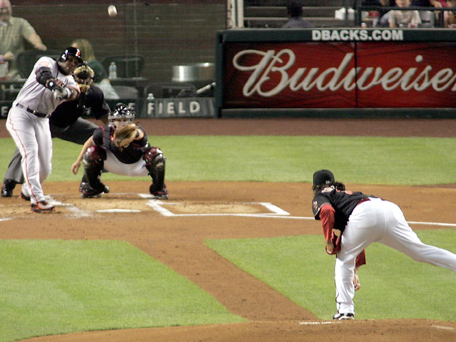 Barry Bonds<br>Date, Site: April 28,2007, Chase Field<br>Pitcher: Edgar Gonzalez<br>Inning: 1st, Men on Base: 1, Outs: 2<br>Game Result: in progress<br><br><br> Hank Aaron<br>Date, Site: July 5, 1975, Tiger Stadium<br>Pitcher: Vern Ruhle<br>Inning: 4th, Men on Base: 0 on, Outs: 1<br>Game Result: Tigers 3, Brewers 2