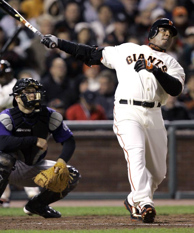 Barry Bonds<br>Date, Site: May 2, 2007, AT&T Park<br>Pitcher: Jeff Francis<br>Inning: 4th, Men on Base: 1, Outs: 1<br>Game Result: Giants 5, Rockies 3<br><br><br>Hank Aaron<br>Date, Site: July 24, 1975<br>Pitcher: Dyar Miller<br>Inning: 9th, Men on Base: 0, Outs: 2<br>Game Result: Orioles 10, Brewers 7