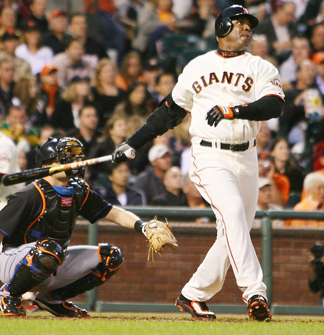 Barry Bonds<br>Date, Site: May 8, 2007, AT&T Park<br>Pitcher: Tom Glavine<br>Inning: 4th, Men on Base: 0, Outs: 1<br>Game Result: Mets 4, Giants 1<br><br><br> Hank Aaron<br>Date, Site: Sept. 14, 1975, Fenway Park<br>Pitcher: Bill Lee<br>Inning: 5th, Men on Base: 0, Outs: 1<br>Game Result: Red Sox 8, Brewers 6