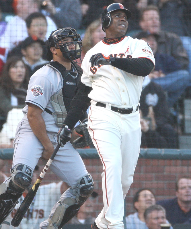 Barry Bonds<br>Date, Site: July 27, 2007 AT&T Park<br>Pitcher: Rick Vanden Hurk<br>Inning: 1st, Men on Base: 0, Outs: 2<br>Game Result: Giants 12, Marlins 10<br><br><br> Hank Aaron<br>Date, Site: July 11, 1976, Milwaukee County Stadium<br>Pitcher: Steve Foucault<br>Inning: 10th, Men on Base: 0, Outs: 1<br>Game Result: Brewers 5, Rangers 4