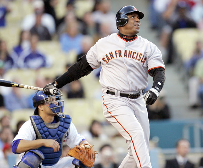Barry Bonds<br>Date, Site: April 25, 2007, Dodger Stadium<br>Pitcher: Randy Wolf<br>Inning: 1st, Men on Base: 2, Outs: 0<br>Game Result: Giants 6, Dodgers 4<br><br><br>Hank Aaron<br>Date, Site: July 3, 1975, Milwaukee County Stadium<br>Pitcher: Roger Moret<br>Inning: 4th, Men on Base: 0, Outs: 0<br>Game Result: Brewers 3, Red Sox 2