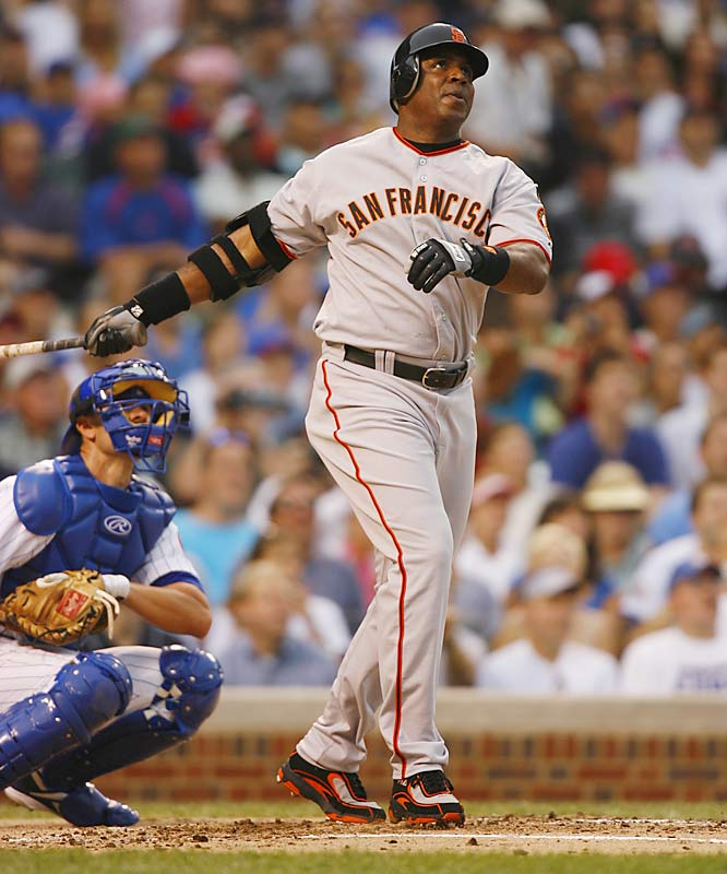 Barry Bonds<br>Date, Site: July 19, 2007, Wrigley Field<br>Pitcher: Ted Lilly<br>Inning: 2, Men on Base: 0, Outs: 0<br>Game Result: Cubs 9, Giants 8<br><br> Hank Aaron<br>Date, Site: June 22, 1976, Milwaukee County Stadium<br>Pitcher: Dave Roberts<br>Inning: Inning: 4th, Men on Base: 0, <br> Outs: 0<br>Game Result: Tigers 10, Brewers 4