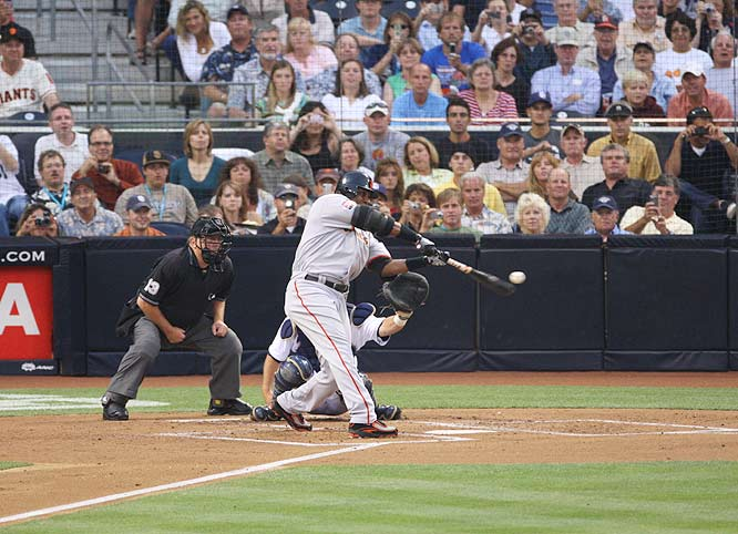 Barry Bonds<br>Date, Site: August 4, 2007, Petco Park<br>Pitcher: Clay Hensley<br>Inning: 2nd, Men on Base: 0, Outs: 0<br>Game Result: Padres 3, Giants 2 (12)<br><br><br> Hank Aaron<br>Date, Site: July 30, 1976, Milwaukee County Stadium<br>Pitcher: Dick Drago<br>Inning: 7th, Men on Base: 0, Outs: 2<br>Game Result: Brewers 6, Angels 2