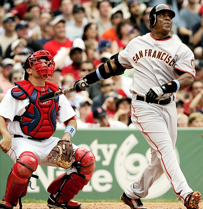 Barry Bonds<br>Date, Site: June 17, 2007, Fenway Park<br>Pitcher: Tim Wakefield<br>Inning: 6th, Men on Base: 0, Outs: 0<br>Game Result: Red Sox 9, Giants 5<br><br><br> Hank Aaron<br>Date, Site: June 14, 1976, Milwaukee County Stadium<br>Pitcher: Frank Tanana<br>Inning: 3rd, Men on Base: 2, Outs: 2<br>Game Result: Brewers 8, Angels 2<br>