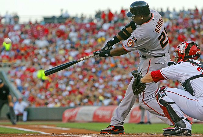 Barry Bonds<br>Date, Site: July 3, 2007, Great American Ball Park<br>Pitcher: Aaron Harang<br>Inning: 1st, Men on Base: 1, Outs: 2<br>Game Result: Reds 7, Giants 3<br><br> Hank Aaron<br>Date, Site: June 19, 1976, Oakland Coliseum<br>Pitcher: Glenn Abbott<br>Inning: 6th, Men on Base: 0, Outs: 1<br>Game Result: A's 7, Brewers 4 <br>