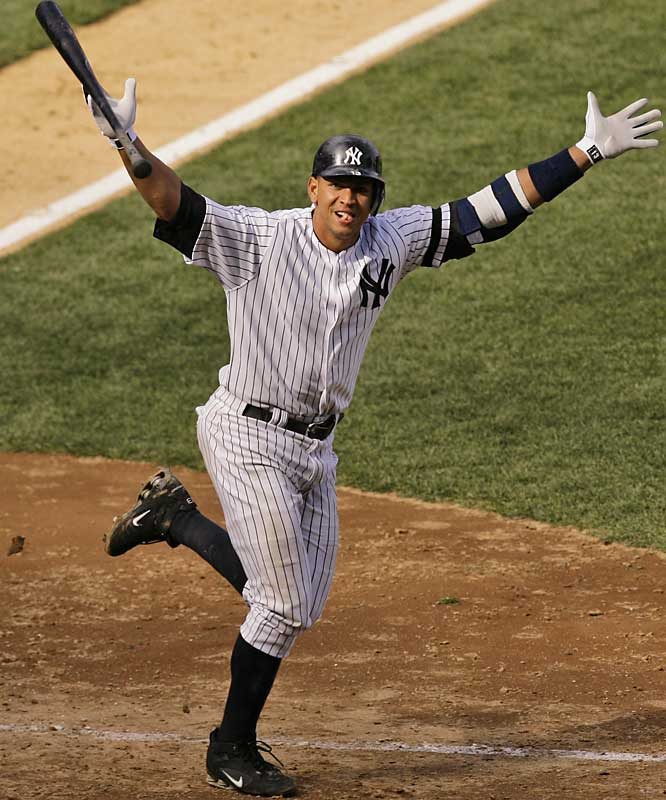 Alex Rodríguez tosses his bat in the air after hitting a two-out, walk-off, three-run homer in the Yankees 8-6 win over the Indians on April 19.