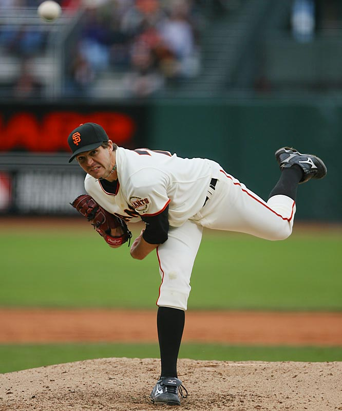 Entering the week with an 8.18 ERA, Giants' pitcher Barry Zito pitched 13.1 scoreless innings last week, getting his first two wins of the season.