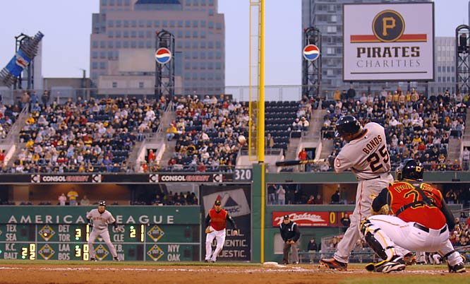 Barry Bonds hits one of his two home runs against the Pirates on April 13.  The Giants won 8-5.