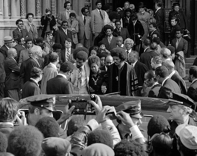 Robinson's wife and son, Don, leave the Hall of Famer's funeral on Oct. 27, 1972. The Rev. Jesse Jackson eulogized the man who broke baseball's color barrier.