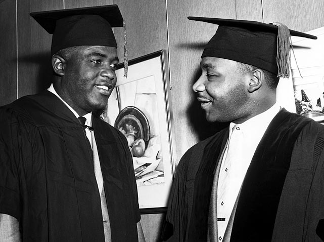 Robinson and the Rev. Martin Luther King, Jr., both received honorary doctorates from Howard University in June 1957. The men shared a belief in pacifism in the face of intolerance.