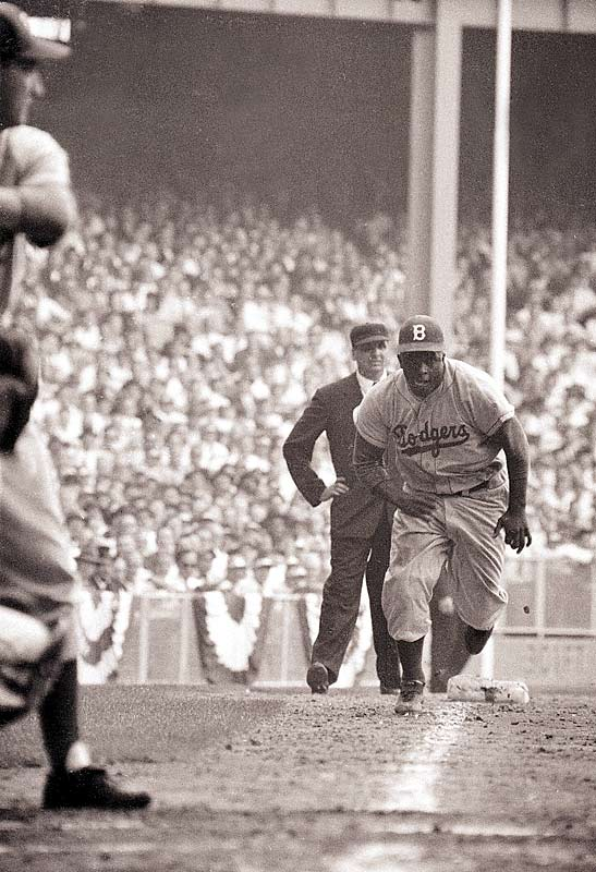 The Dodgers were down 6-4 in the eighth inning of Game 1 of the 1955 World Series with Jackie Robinson on third base and Whitey Ford pitching.